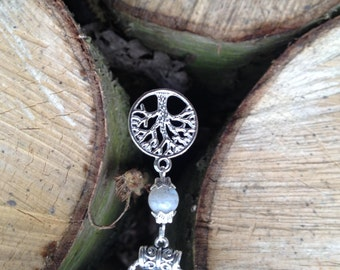 Tree of Life Labradorite Necklace Tibetan Silver Gemstone Pagan Wicca Shaman Celtic Witch Goth Tree Silver