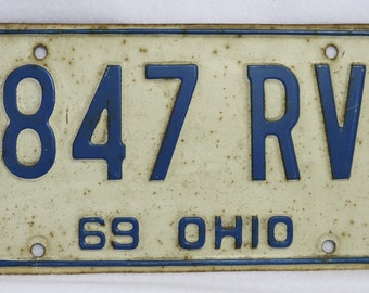 Vintage 1969 License Plate Ohio Hot Rod Muscle Car Historical Vehicle 69