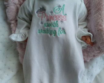 Personalized Baby Gift Girl Newborn Girl Coming Home Outfit Personalized Baby Girl Clothes Baby Clothes Infant Gown Baby Outfit pink mint