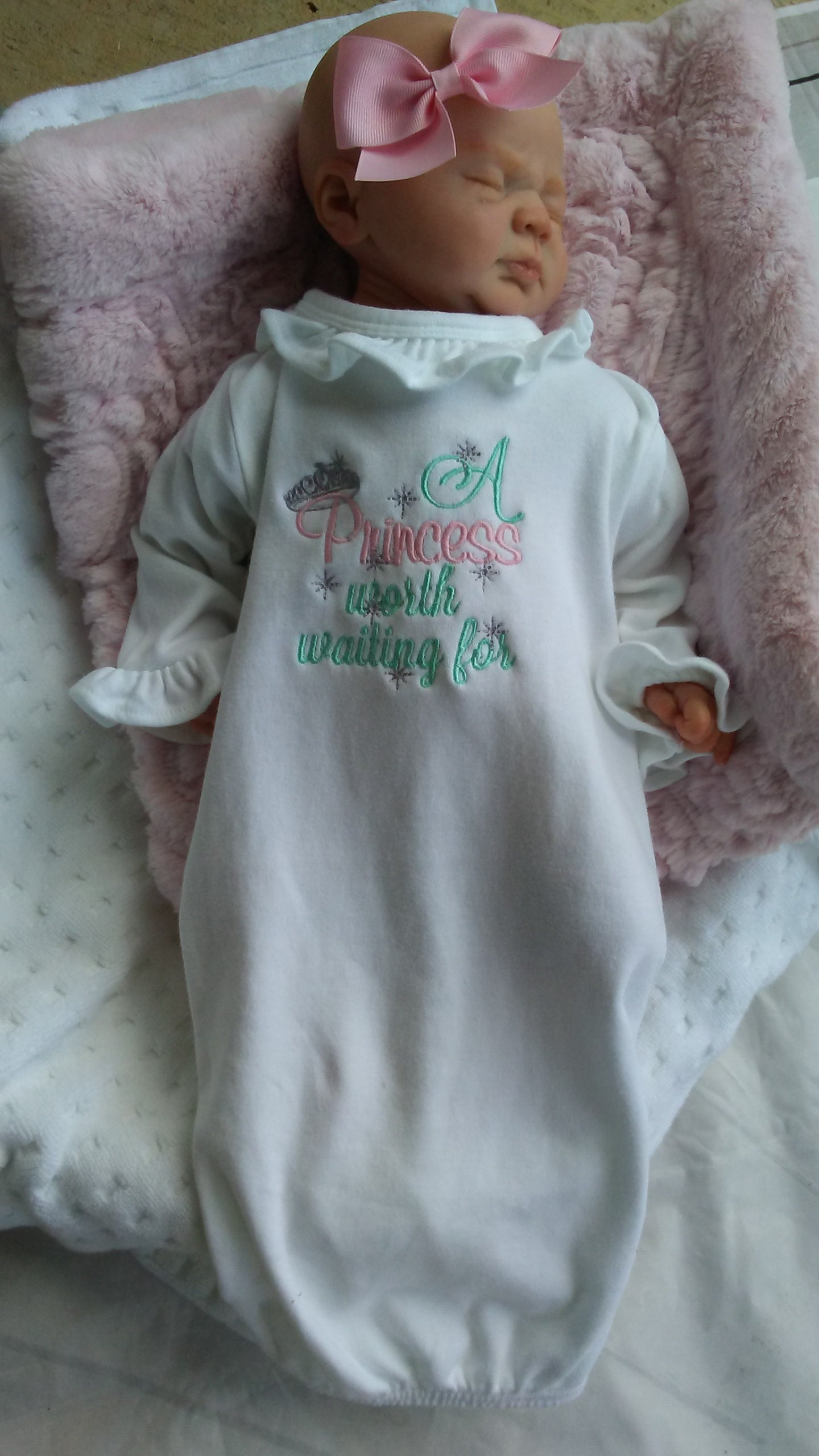 Personalized baby gift girl newborn girl coming home outfit personalized baby gift girl newborn girl coming home outfit personalized baby girl clothes baby clothes infant gown baby outfit pink mint negle