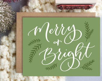 Merry & Bright A2 Greeting Card, Christmas Note Card, Green Merry and Bright Note Card,