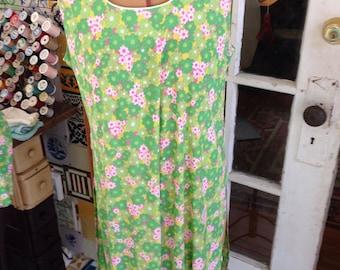 50's lime green floral arnel shorts set