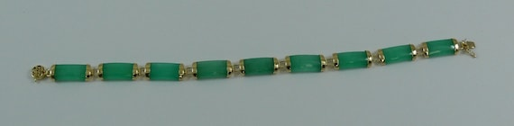Green Jade Bracelet 14k Yellow Gold 7 Inches