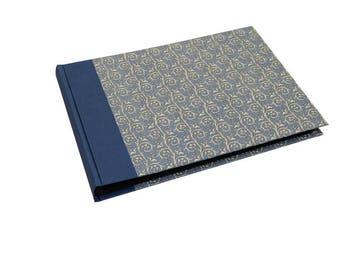 XL Photo Album blue with black pages, light blue pattern Organic ranks, handmade photo book, family album,