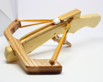 Marshmallow Crossbow Wooden Toy Crossbow that shoots mini-marshmallows (For kids & adults - birthday gift, bachelor party, groomsmen gift)