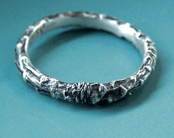 Sterling Silver Twig Ring, Narrow Pine Branch