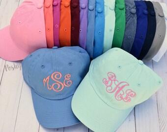 Ladies' Monogram baseball cap- Custom color hat and embroidery