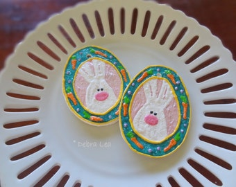 SALE! Handmade Fake Cookie Faux  Easter Sugar Cookie Bunny with Carrots Egg