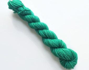 IVY green hand dyed yarn fingering sock dk bulky yarn super wash merino wool yarn single or ply. you choose your base. medium green yarn
