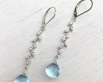Blue Topaz silver earrings,Blue topaz white pave necklace,gift for her,gift under 100,long blue earrings,statement earrings,elegant earrings