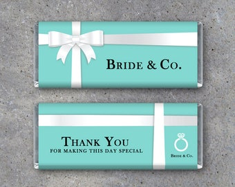 White Ribbon Bride & Co. Bridal Shower Candy Bar Wrappers - Printable DIY Bridal Shower Party Favors or Bachelorette Party Favors