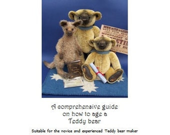 PDF Instructions How to Age a Teddy Bear, written craft guide, Teddy bear supplies, BearlissimoBears, vintage bear making, traditional toy