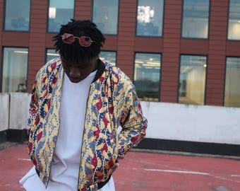 African Print Jacket Mens Wax Bomber Jacket Ankara Jacket Mens African Clothing Wax Print Jacket African Bomber In Wax Mens Festival Jacket