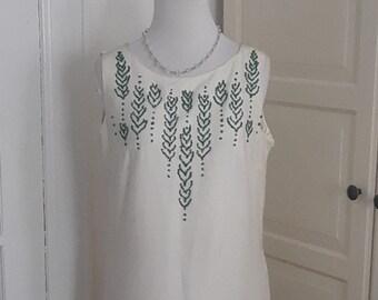 60s Vintage Dress, White Linen + Green Beading, Shift, Summer, Size Medium, 37B
