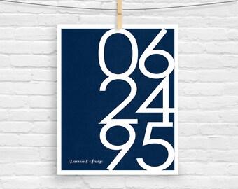 Wedding Date Gift Large Anniversary Wedding Date Art - Personalized - Anniversary - Custom Date - Modern Print Wedding Date Sign