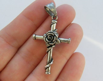 Cross pendant etsy 1 rose cross pendant antique silver tone stainless steel c102 aloadofball Image collections