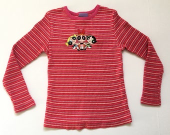 1990s POWER PUFF GIRLS Ribbed Glitter Embroidered Vintage Longsleeve T Shirt // Size Xxsmall