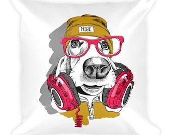 DJ dog illustration on a square pillow