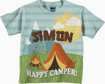 Personalized Happy Camper Shirt, Child's Camping T-Shirt, Boys Camp Shirt, Girl's Happy Camper Tee