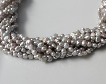 Gray Pearls, Light Gray Pearls, Pale Grey Pearls, Silver Pearls, Silver Freshwater Pearls, Nugget Pearls BaroquePearl 4mm Full Strand NP4511