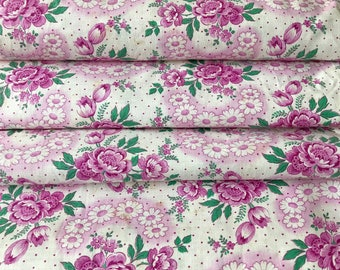 Antique fabric, rosy floral, anemones and daisies, pink pink