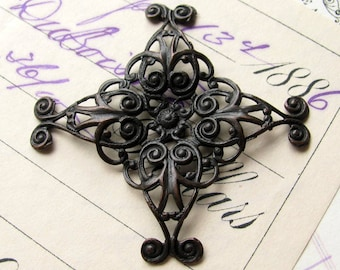 Versatile bendable square filigree wrap, 43mm antiqued black brass filigree cabochon wraps, pliable blackened brass, dark patina, ORFF015