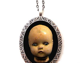 Doll Head Necklace Pendant Silver Tone - Creepy Victorian Antique Goth