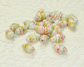 Paper Beads, Loose Handmade Jewelry Supplies Colored Pineapples on White