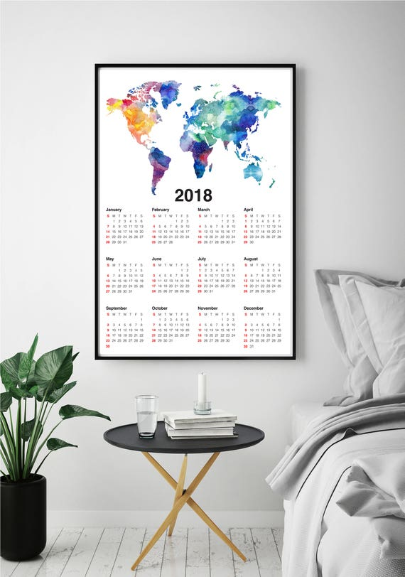 Wall calendar 2018 world map print wanderlust gift world map like this item gumiabroncs