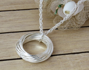 21st Birthday Gift, Sterling Silver Interlocking Rings Necklace, 21 rings for 21 Years, Gift for Her