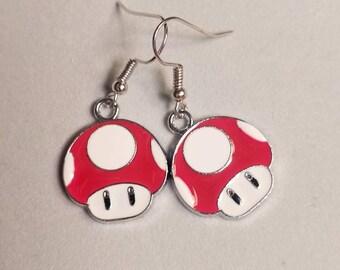 Toadstool Earrings- Super Mario Earrings - Mario Earrings - Nintendo Earrings