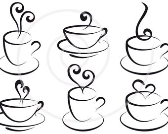 Coffee and tea cups with hearts, digital clip art, clipart set, logo design, graphic design, commercial use, PNG, EPS, SVG, instant download
