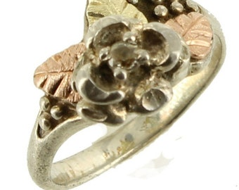 Vintage Sterling Black Hills Gold Flower And Leaf  Yellow Rose Gold  Ring Size 5