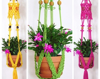 Macrame Plant Hanger with Birdcage, Hanging Planter, Indoor Large Pot Holder, Jungalow Décor, Avocado Green, Yellow, Pink