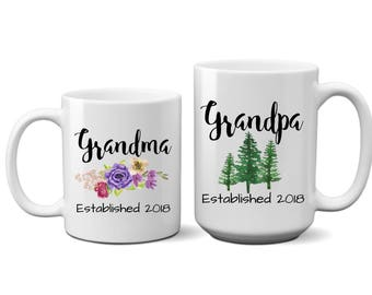 Grandma and Grandpa, Coffee, Mug Set, Cup, Pregnancy, Announcement, Reveal, For, Gift, Her, Him, Grandparents Day, Ceramic, Established