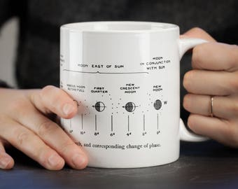 Lunar Phases Moon Mega Mug | Phases of the Moon Large Coffee Mug, Scientific Illustration, Astronomy Gift Stars Night Sky Space Gift Ceramic