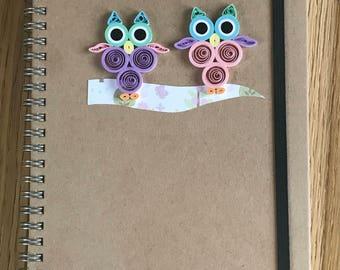 Quilled Owl Notebook, Owl Journal, Owl Stationary Gift, Hand decorated Notebook, Owl Quilled Notebook, A6 Notebook, Hand Quilled Notebook