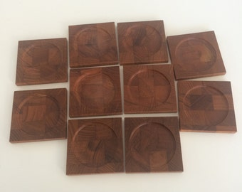 "Ten (10) Vintage Teak Wood Coasters Excellent used condition ~3.25""x3.25"" square"