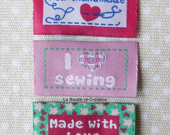 6 x tags in fabric label sew messages tones pink 45mm