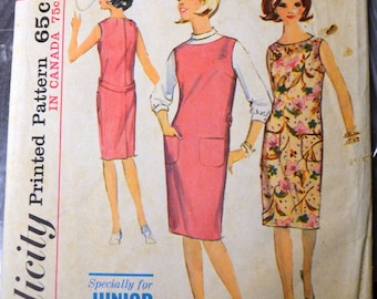 Vintage 1960s Chemise Sewing Pattern  Simplicity 5377 Junior Petite Dress Size 7 Bust 32 Complete