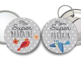 A godmother Super red bird mirror and a Super my godfather Blue Bird bottle opener