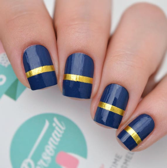 Navy Blue With Gold Accent Nail Polish Wraps from itsPersonail on ...