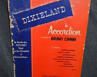 Vintage 1950s Dixieland for Accordion Music and Song Book by Bruno Camini