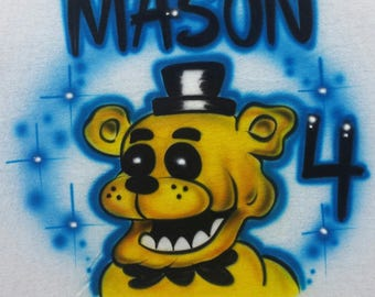 Airbrush Five Nights At Freddy's Golden Freddy FNAF Inspired T-Shirt Or Hoody Sweatshirt