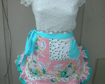 Womens Aprons - Pink Aprons - Turquoise Aprons - Vintage Tablecloth Aprons - Hostess Gifts - Pink Cottage Chic Aprons - Annies Attic Aprons
