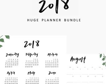 HUGE 2018 PLANNER BUNDLE, student planner, 2018 planner, planner printable, 2018 printable, printable calendar, planner,weekly planner,2018