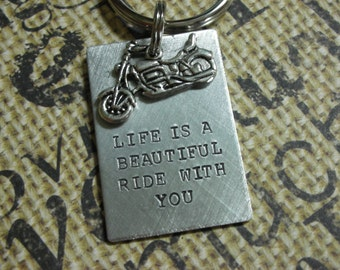 Harley Davidson Motorcycle Keychain--Life Is A Beautiful Ride With You- Valentine's Day Gift-Father Birthday Gift-Gift for Dad