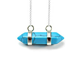 Turquoise Pendant, Double Point Necklace, Quirky Necklace, Natural Crystal, Layering Necklace, Present For Daughter, Turquoise Stone