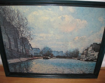 "FRAMED PRINT On CANVAS-European Village On Canvas From An 1890's Painting 24 1/2"" x 30 1/2"""