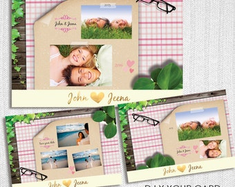 Photoshop Customizable DIY Card, Cute & Fun, Movable Objects, Card Template, Digital Printable card - Instand Download